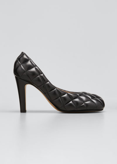 Quilted Puffy Leather Pumps