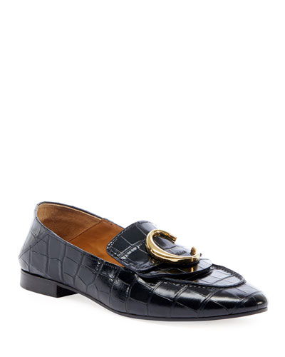 C Crocodile-Embossed Loafers