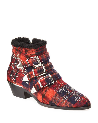 Susan Check-Print Booties