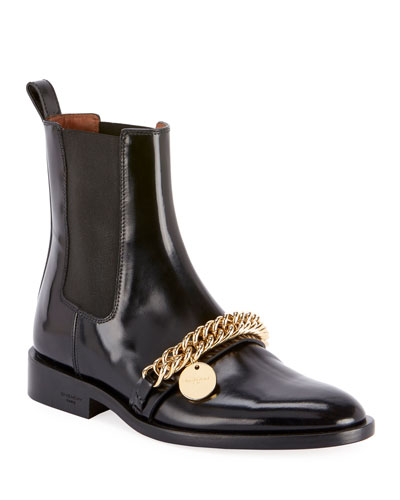 Chain-Trim Chelsea Ankle Booties