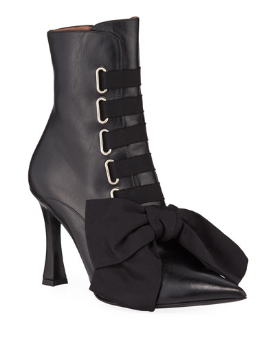 Farren Lace-Up Bow Leather Booties