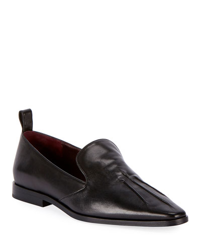 Flat Slip-On Leather Loafers