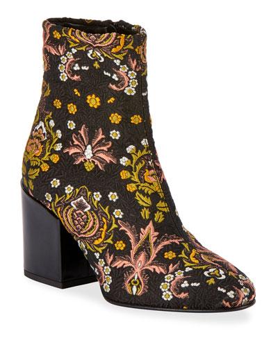 Floral-Jacquard Zip Booties