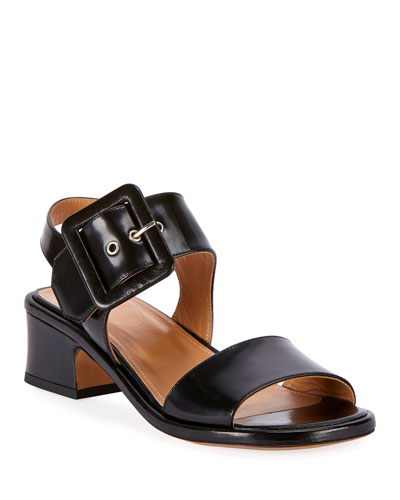 Shiny Leather Buckle Sandals