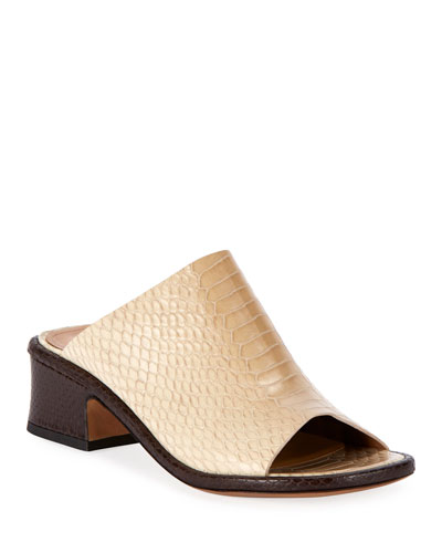 Snake-Embossed Slide Mules