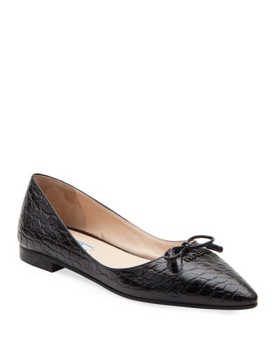 Crocodile-Embossed Ballet Flats