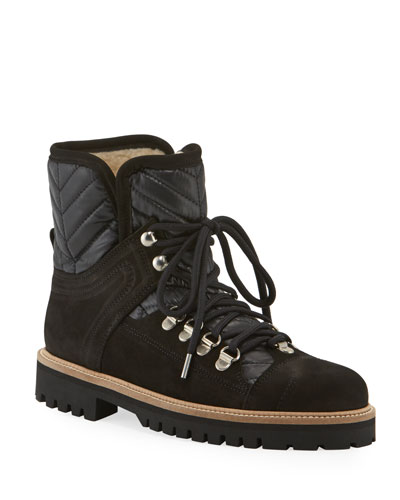 Winter Hiker Leather & Suede Lace-Up Bootie