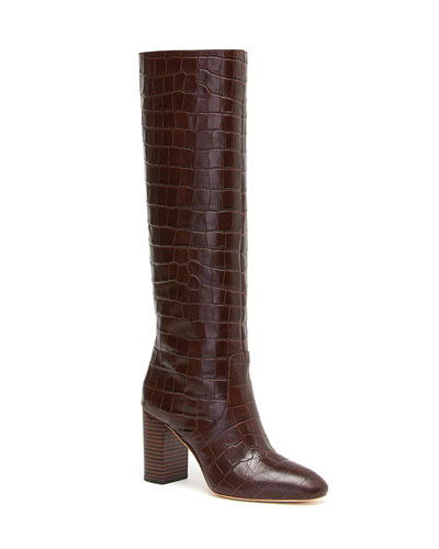 Goldy Croc-Embossed Leather Boots
