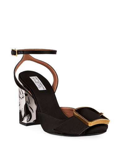 Serena Satin Buckle Sandals, Black