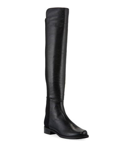 50/50 Leather/Gabardine Over-the-Knee Boots