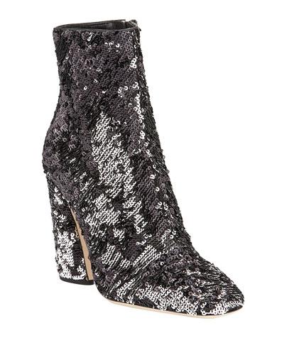 Mirren Sequined Block-Heel Booties