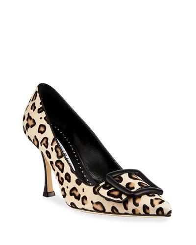 Maysalebi Leopard Buckle Pumps