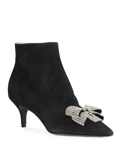 Suede Crystal-Bow Booties