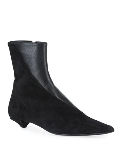 Leather & Suede Kitten-Heel Booties