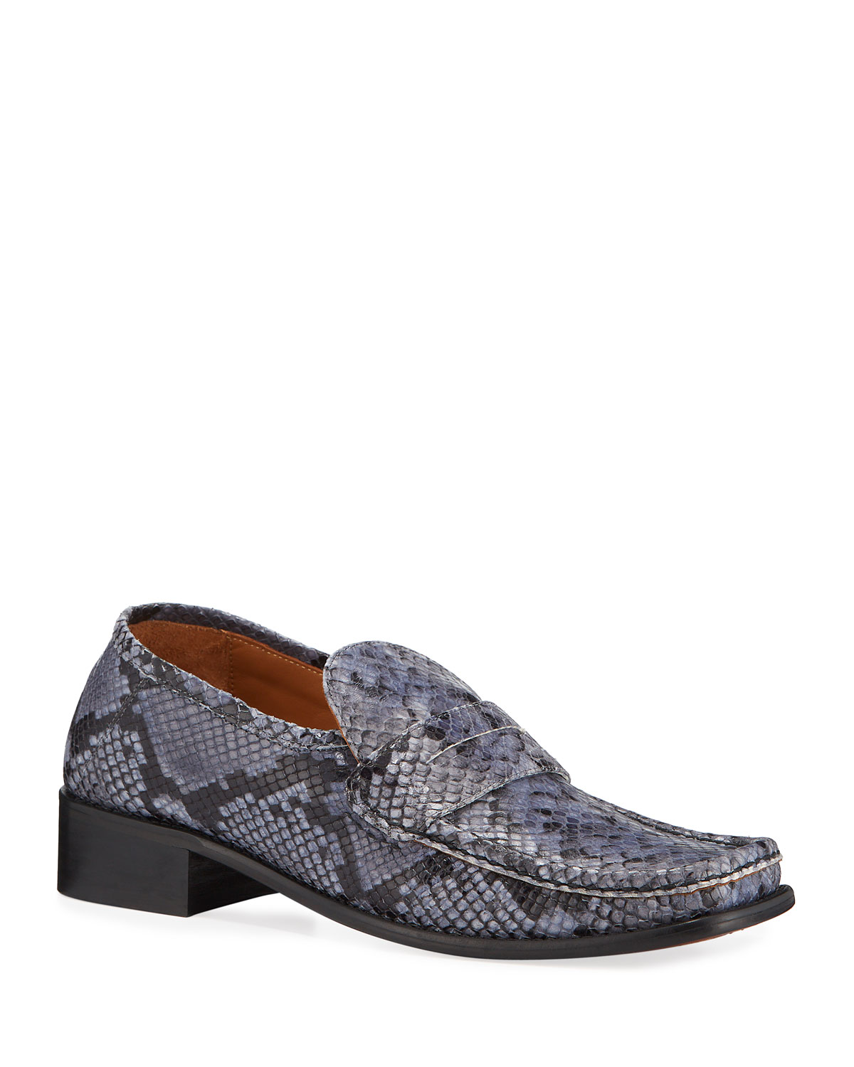 By Far Loafers BRITNEY SNAKE-PRINT LEATHER LOAFERS