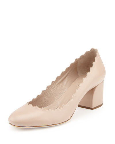 Scalloped Leather Pumps, Light Pink