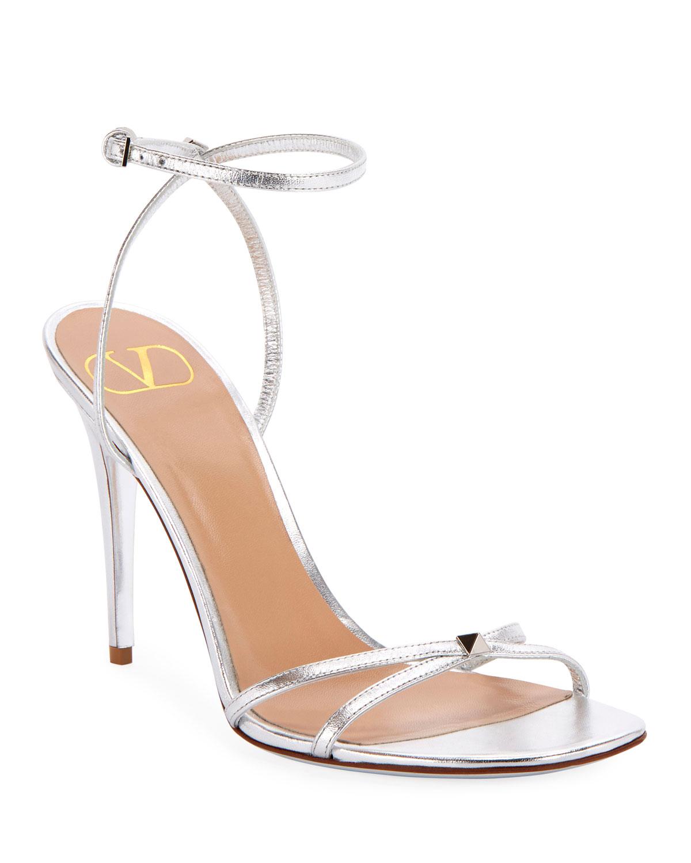 Valentino Garavani Sandals ROCKSTUD METALLIC ANKLE-STRAP SANDALS