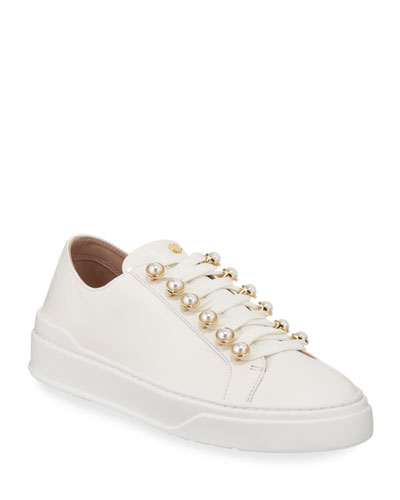 Excelsa Pearly-Detail Leather Low-Top Sneakers