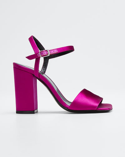 Strappy Satin Ankle Sandals