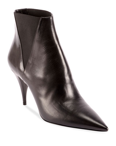 Kiki Pointed Toe Leather Booties