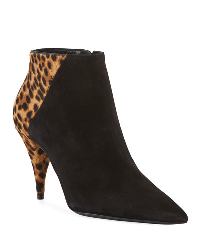 Kiki Leopard and Suede Booties