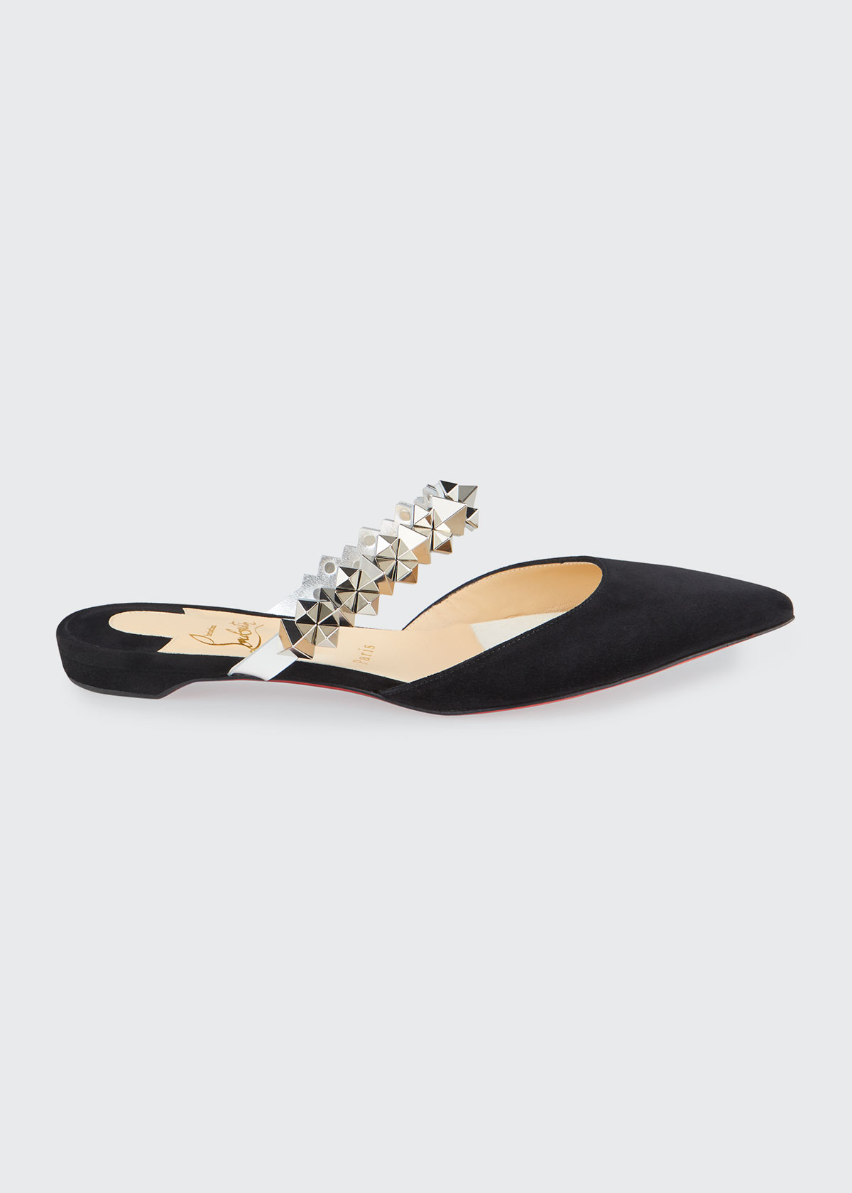 Christian Louboutin PLANET CHOC SUEDE SPIKE-STRAP RED SOLE MULES