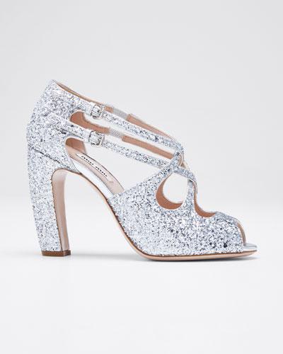 Speauntate Crisscross Glitter Sandals