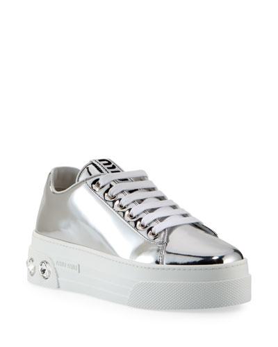 Metallic Patent Platform Sneakers