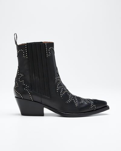 Studded Leather Western Booties