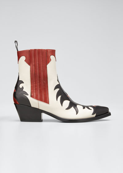Mixed Pointed Western Booties