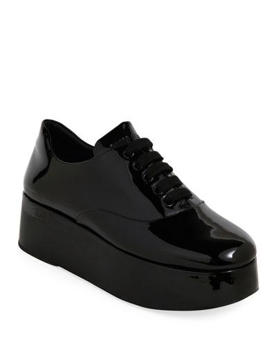 Patent Lace-Up Platform Loafers
