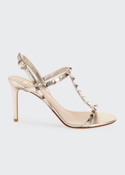 Rockstud Metallic T-Strap Sandals