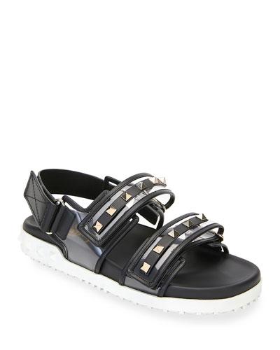 Rockstud PVC Two-Strap Sport Sandals