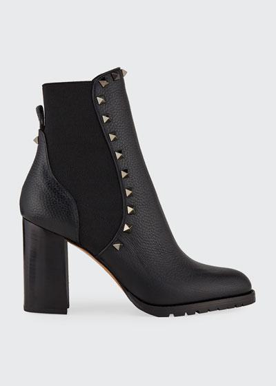 Rockstud Leather Chelsea Booties