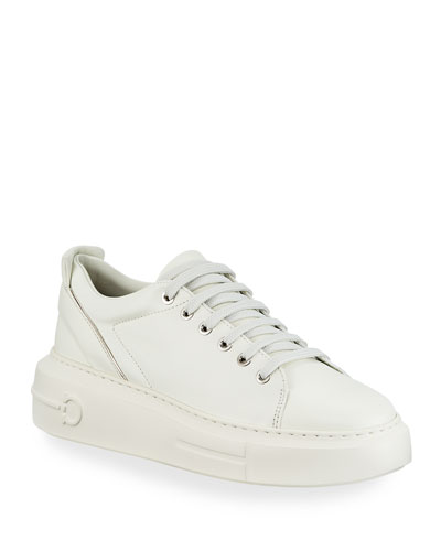 Senise Leather Sneakers with Gancio Heel