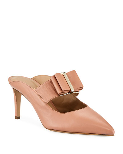 Zelda Leather Bow Mule Pumps