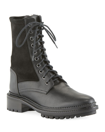 Orianna Mixed Leather Lace-Up Combat Booties
