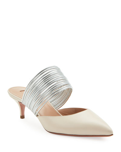 Rendez Vous Strappy Leather Kitten-Heel Mules
