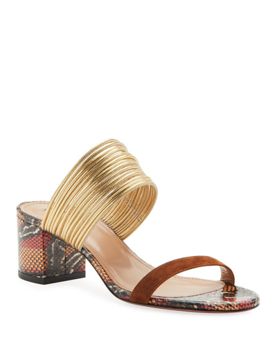 Rendez Vous Snake-Print Leather Slide Sandals
