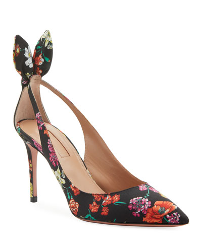 Deneuve Floral-Print Pointed Bow Pumps