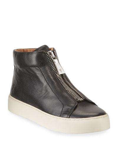 Lena Leather Zip High-Top Sneakers