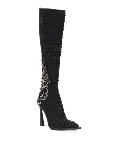 Frame Knit Logo Over-The-Knee Boots