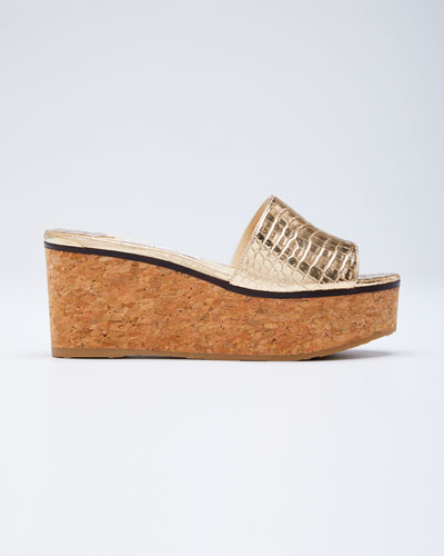 Deedee Metallic Cork Platform Sandals