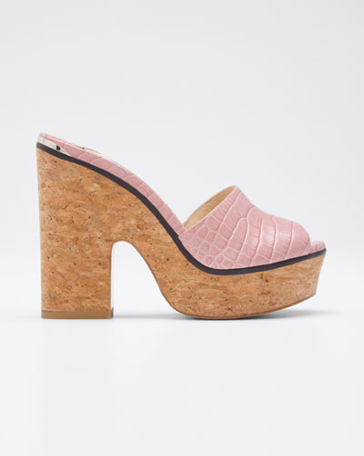 Deedee Shiny Cork Platform Sandals
