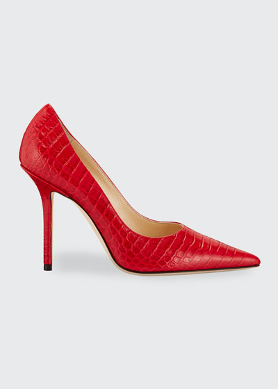 Love 100mm Croc-Embossed Leather Pumps