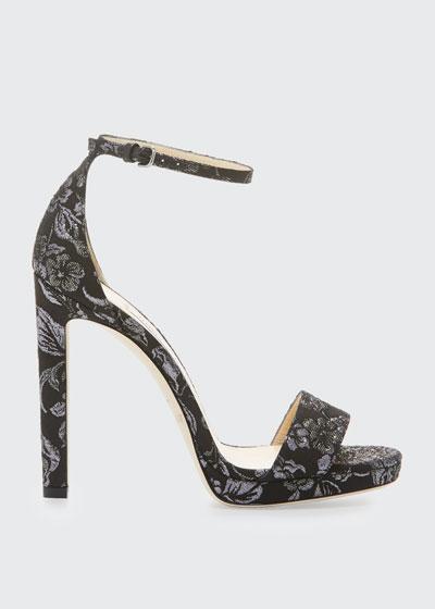 Misty Brocade Fabric Sandals