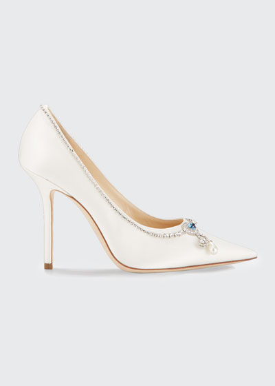 Love 100mm Crystal-Neck Satin Cocktail Pumps