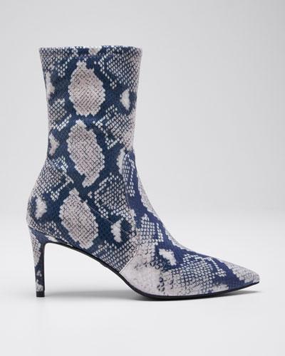 Wren Python-Print Sock Booties