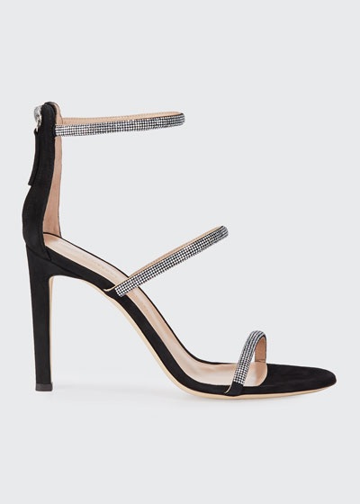 Suede and Crystal Sandals