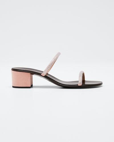 Suede & Crystal Slide Sandals